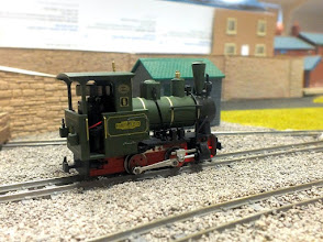 Photo: 022 One of the attractive Minitrains Zillertalbahn 0-4-0WT locos outside the shed on The Senga Line, by Rowland Sutton .