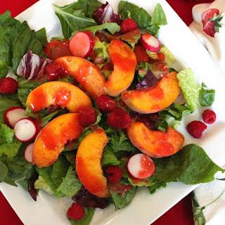 Fresh Peach Salad with Raspberry Viniagrette Recipe
