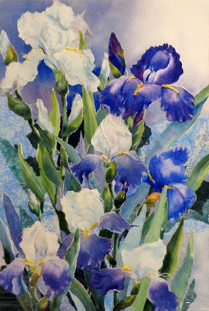 People's Choice Award: Iris, In Search of the Perfect Blue,  Watercolor Collage by Shirley Eley Nachtrieb