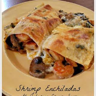 Shrimp Enchiladas with Jalapeno Cream Sauce.