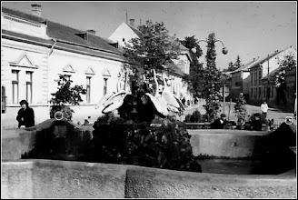 """Photo: """"Fȃntȃna cu lebede din faţa teatrului din Turda, pe amplasamentul original, în 1959. Am încercuit cu alb două din cele 4 broaşte care ornau marginile fȃntȃnii. In stȃnga – fosta casă de pe str.Avram Iancu nr.1 (demolată).""""  (info. R.C.)   sursa Facebook, I.L.T.. https://www.facebook.com/photo.php?fbid=1372895952819919&set=gm.1712089712146316&type=3&theater&ifg=1  Fan Turda https://www.facebook.com/fanturda/photos/a.418600274855900.90257.416939068355354/1509280572454526/?type=3&theater"""