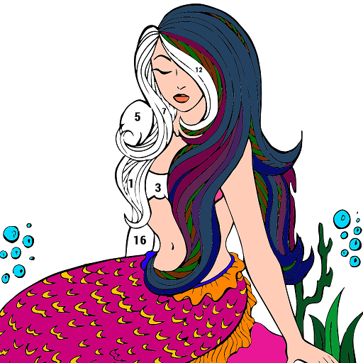 Mermaid Color by Number: Adult Coloring Book Pages Icon