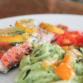 "Baked Salmon, and zucchini angel hair ""pasta"""