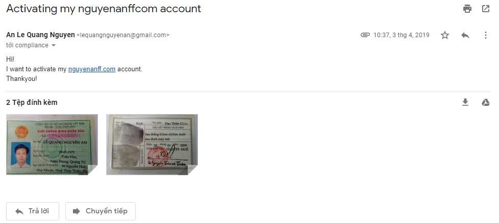 Email gửi thông tin CMND