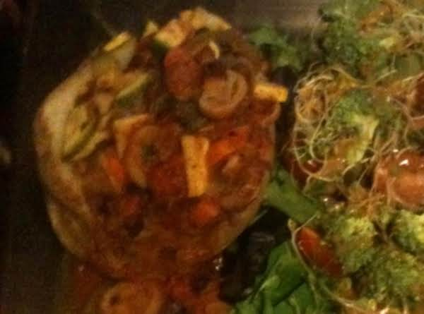 Baked Potatoes Topped With Spicy Vegetable Stew Recipe