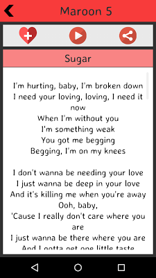 Maroon 5 Lyrics - screenshot