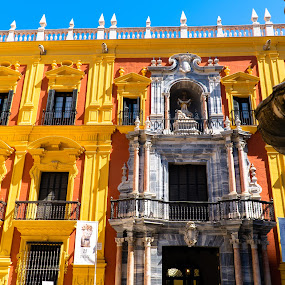 Unknown Building in Malaga by Luke Albright - Buildings & Architecture Public & Historical ( foutain, historic, old, yellow, building, architecture )