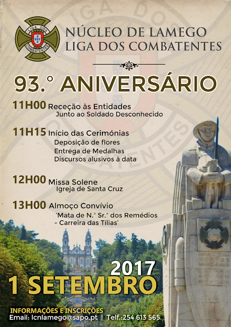 Programa da comemoração do 93º aniversario do Núcleo da Liga dos Combatentes de Lamego