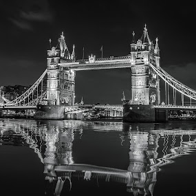 Tower Bridge at Night by Dmitriy Andreyev - Black & White Buildings & Architecture