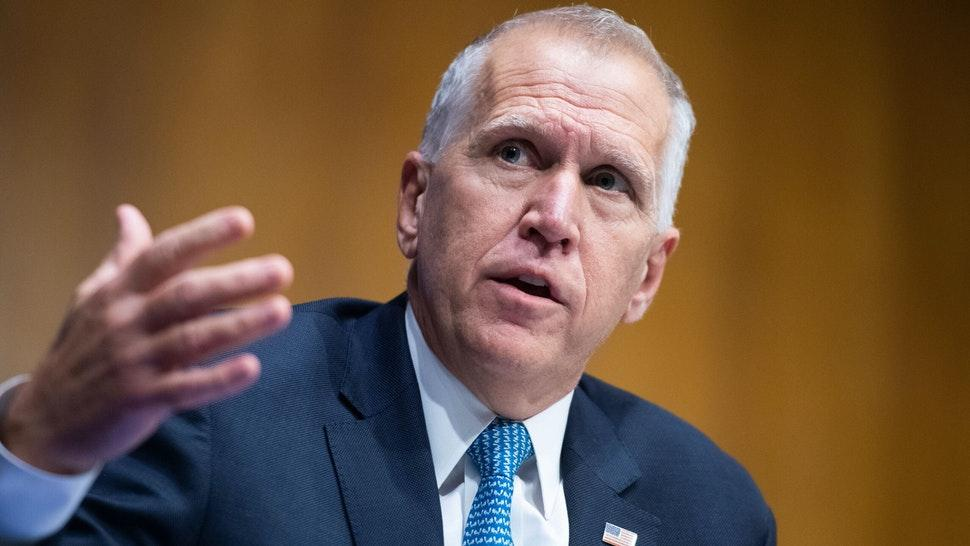 UNITED STATES - JUNE 16: Sen. Thom Tillis, R-N.C., asks a question during the Senate Judiciary Committee hearing titled ÒPolice Use of Force and Community Relations,Ó in Dirksen Senate Office Building in Washington, D.C., on Tuesday, June 16, 2020.