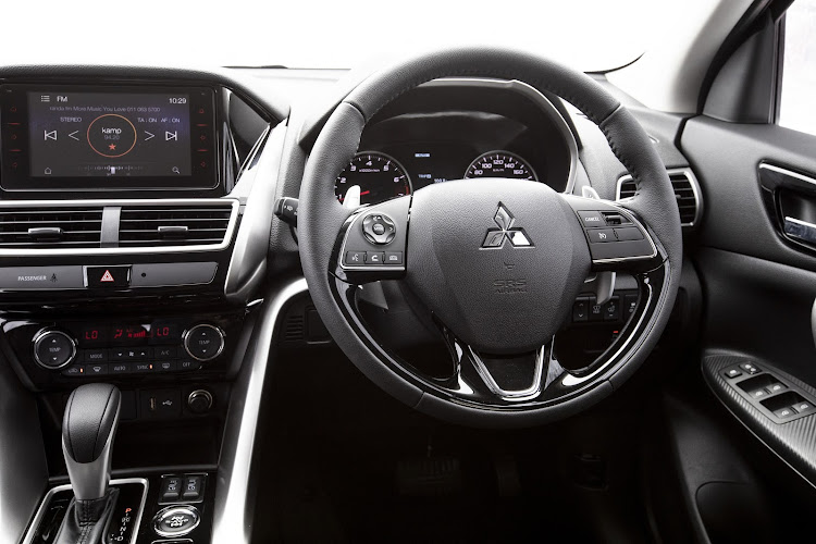 The cabin is a decently decorated area with the typical Mitsubishi like for black leather seating and dash colouring. Picture: SUPPLIED