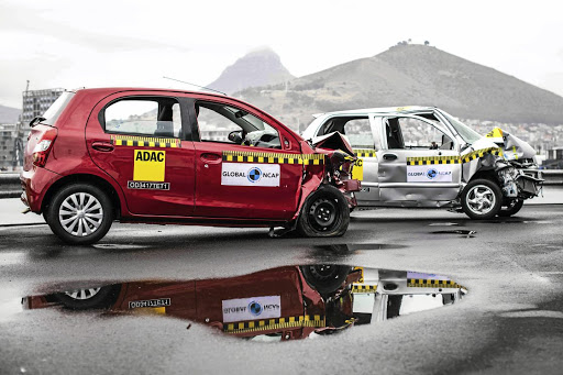 The Toyota Etios achieved five stars for adult occupant protection in 2017 crash tests while the Chery QQ3 failed abysmally. Picture: GLOBAL NCAP