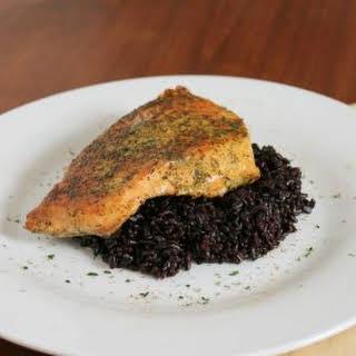 Healthy Spice Rub Salmon over Forbidden Rice.