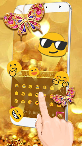 Golden Butterfly Keyboard Theme 10001001 screenshots 3