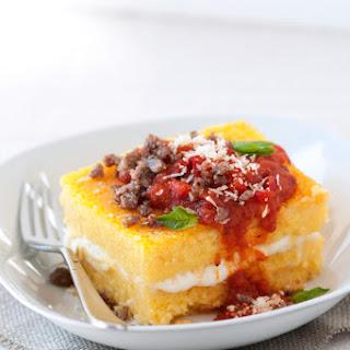 Cheesy Stuffed Polenta with Sausage & Tomato-Basil Sauce