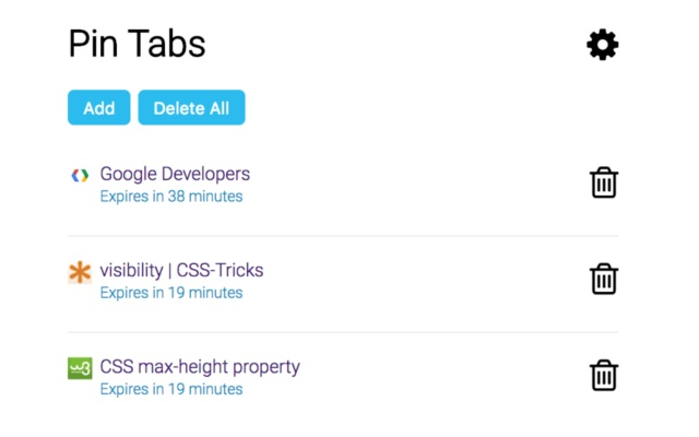 Pin tabs - Tab Manager