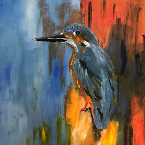 Kingfisher  by Anika McFarland - Painting All Painting ( bird, kingfisher painting, kingfisher, bird painting, painting )