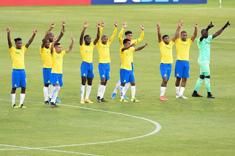 Mamelodi Sundowns players during the CAF Champions League match between Mamelodi Sundowns and TP Mazembe at Loftus Versfeld Stadium on March 16, 2021 in Pretoria, South Africa.