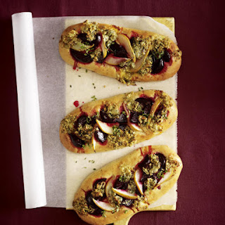 Pear, Beet and Blue Cheese Pizzas