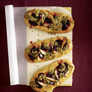 Pear, Beet and Blue Cheese Pizzas.