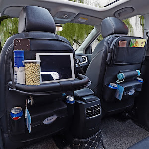 Organizator cu tavita pentru scaun auto spate, piele ecologica