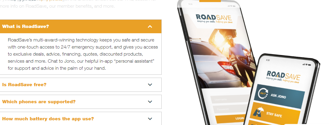 RoadSave  App Landing page