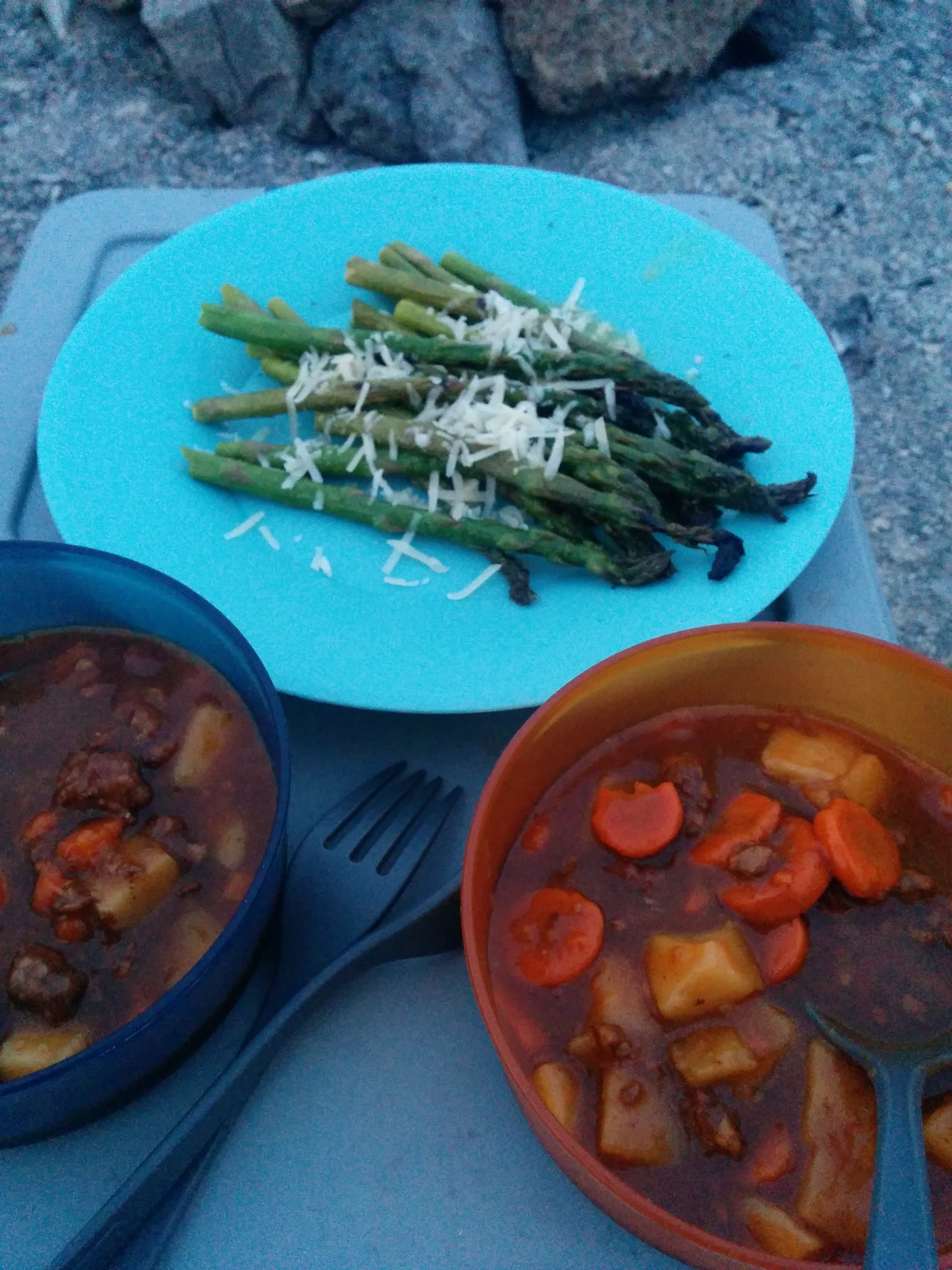 Photo: Jazzing up Dinty Moore beef stew with some fire-roasted asparagus.