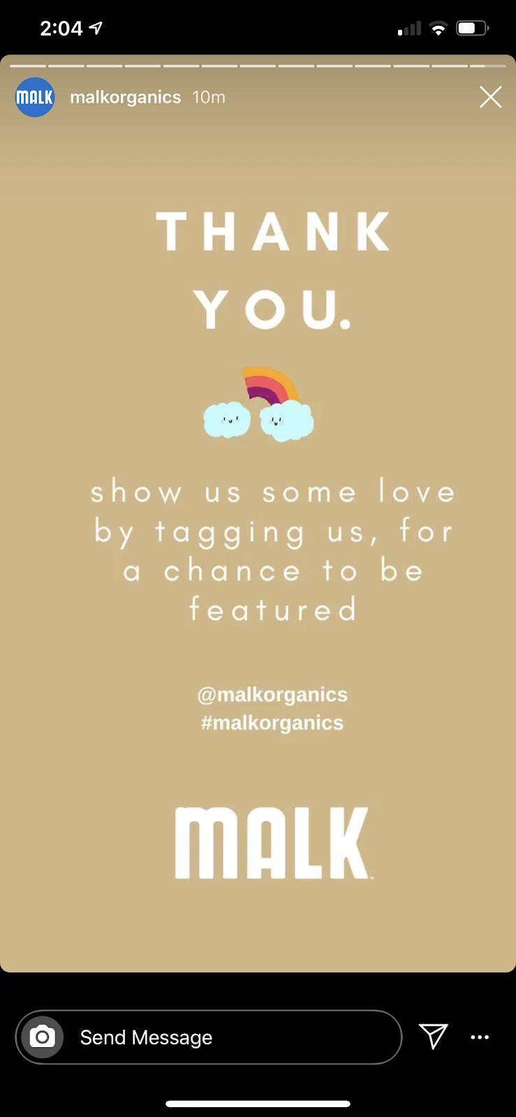 sending DM's from Instagram stories