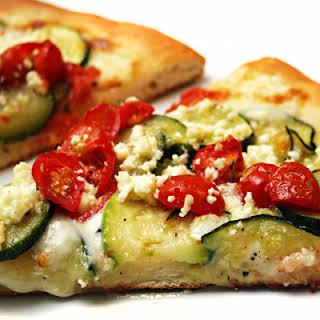 Zucchini, Grape Tomato and Feta Pizza.