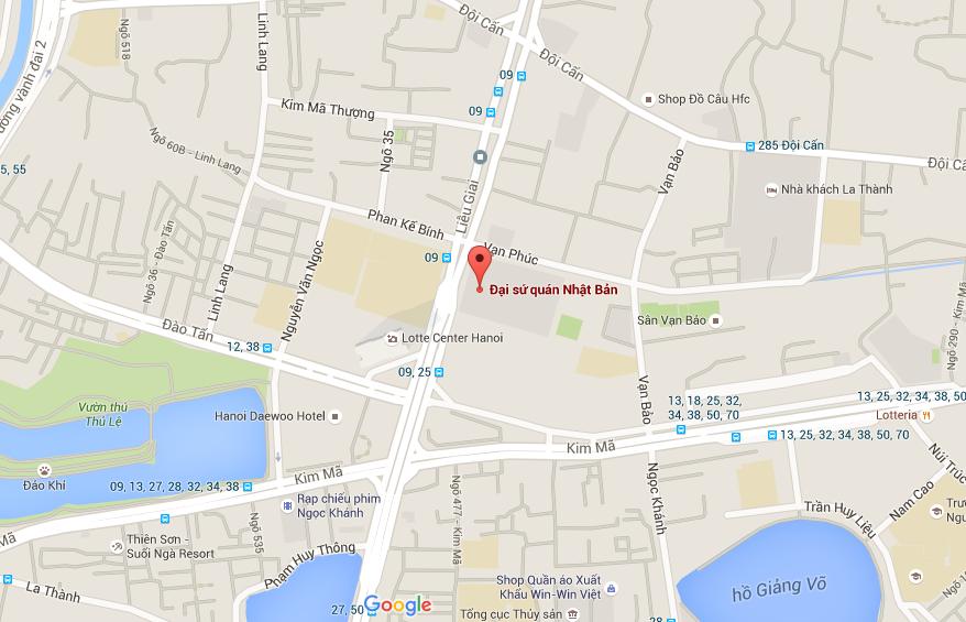 bản đồ tới đại sứ quán nhật bản tại phố liễu giai ba đình hà nội
