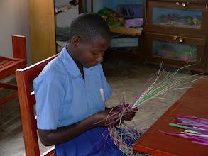 Photo: Special needs class, weaving mats.