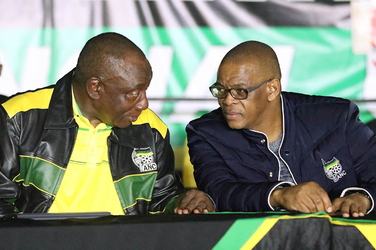 President Cyril Ramaphosa, left, with ANC secretary-general Ace Magashule during a provincial conference in Polokwane, Limpopo. Picture: SOWETAN/ANTONIO MUCHAVE