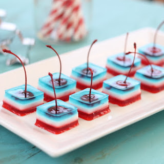 Red White and Blue Jello Shots with Cherries