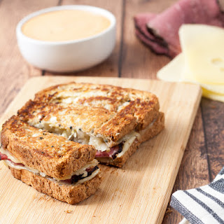 Gluten Free Reuben Sandwich Dippers with Thousand Island Dipping Sauce.