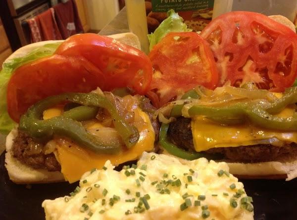 K C Rub Steak Cheddar Burgers W/ Peppers & Onions Recipe