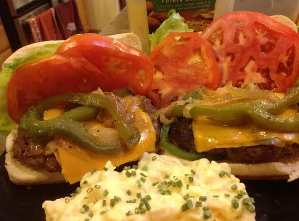 K C Rub Steak Cheddar Burgers W/ Peppers & Onions Recipe