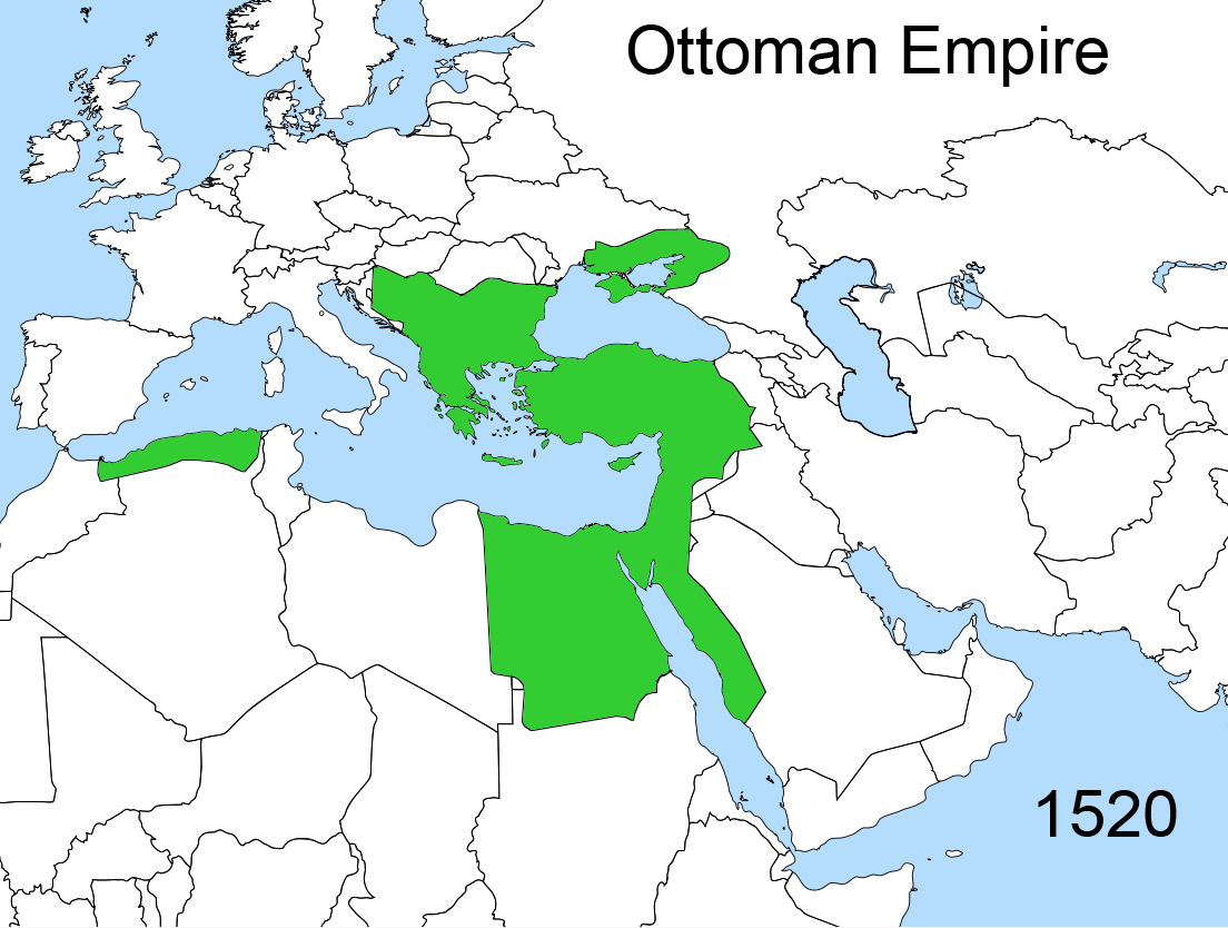 Map of North Africa, the Middle East, and Europe displaying the vast territories within the Ottoman Empire.