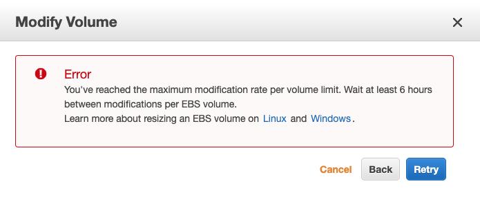 maximum modification rate error