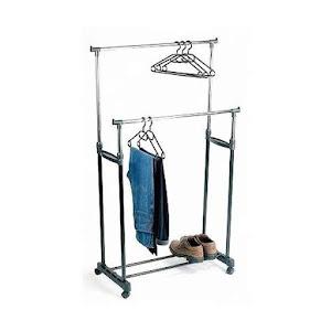 Suport metalic mobil dublu pentru imbracaminte - inaltime 140 cm