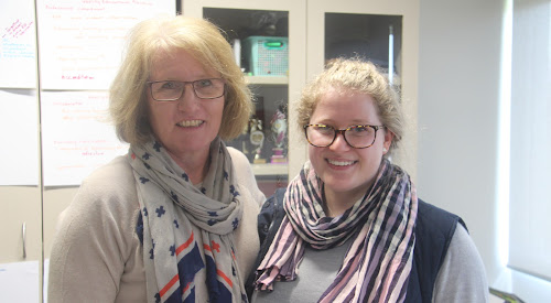 Annie Tapscott with Narrabri Public School principal Marion Tame.