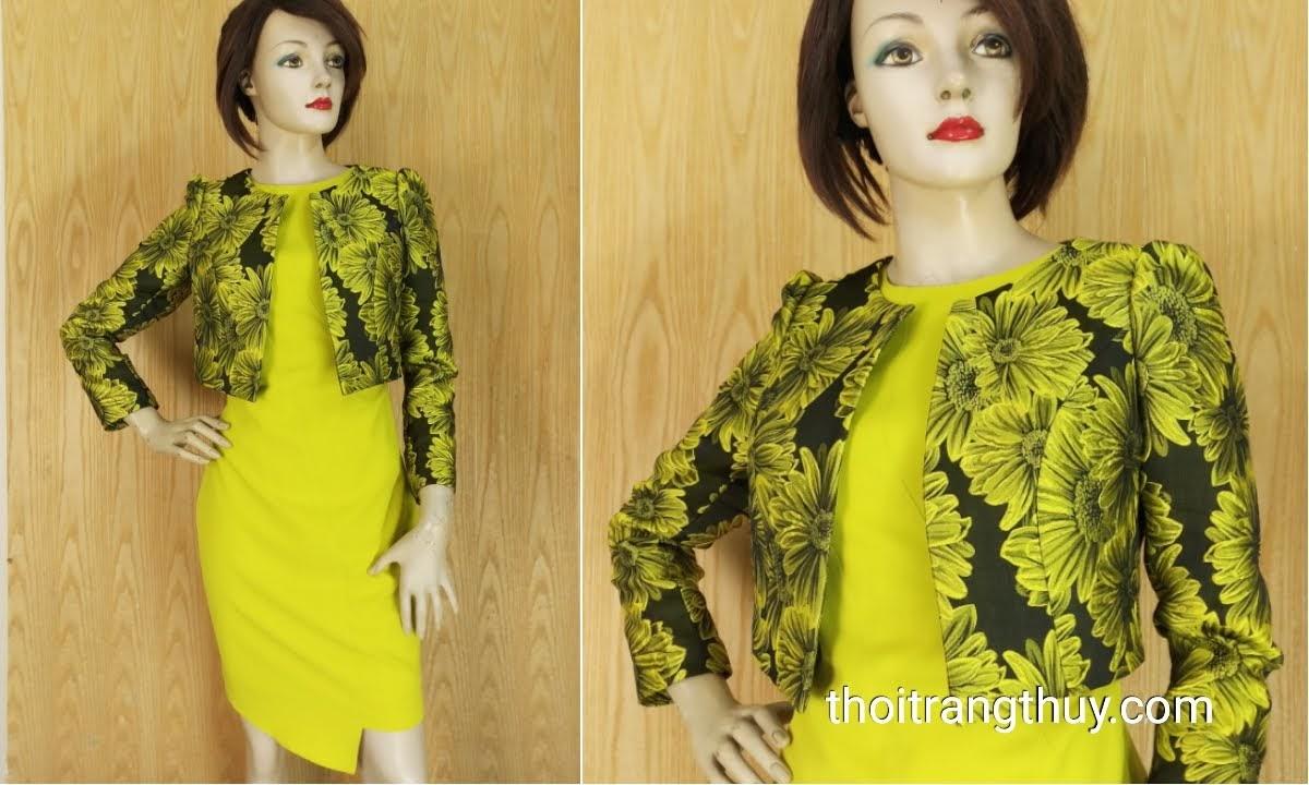 Áo khoác nữ ngang eo hoa thêu vải tafta V640 Thời Trang Thủy