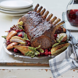 Cranberry-Balsamic Glazed Pork Rack with Fennel, Apples, and Pears