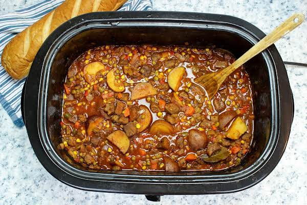 A Slow Cooker Full Of Italian Stew.
