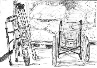 Photo: 角落的輔具2011.03.18鋼筆 輪椅、拐杖、䥫鞋…幾位老病人犯用的身障輔具和作業材料放在一起…