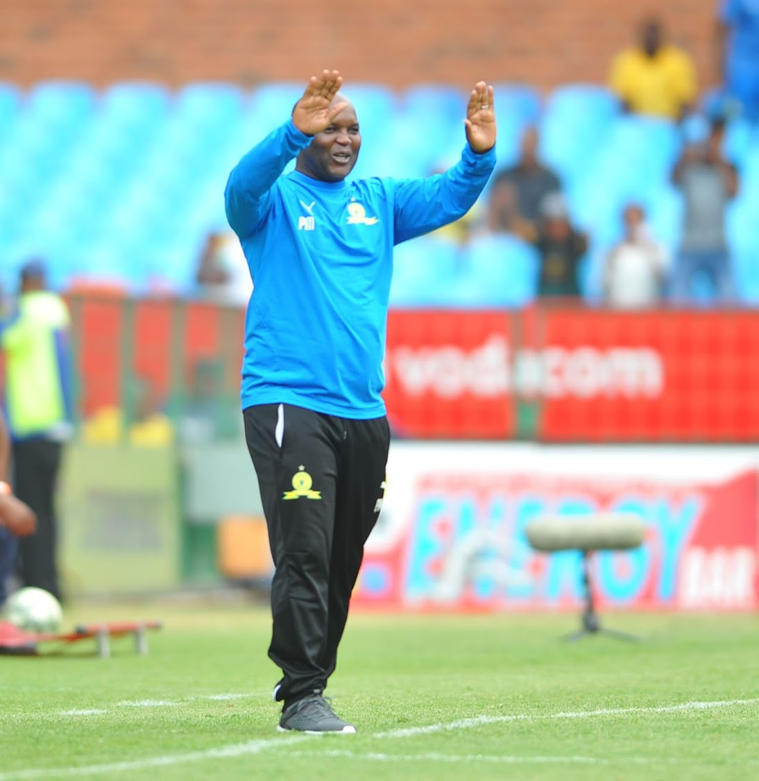 Mamelodi Sundowns coach Pitso Mosimane celebrates during his team's 4-0 Caf Champions League romp over Libyan side Al Ahli Benghazi at Loftus on December 22 2018.