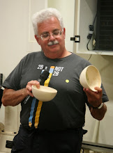 Photo: Jeff shows his two holly bowls.