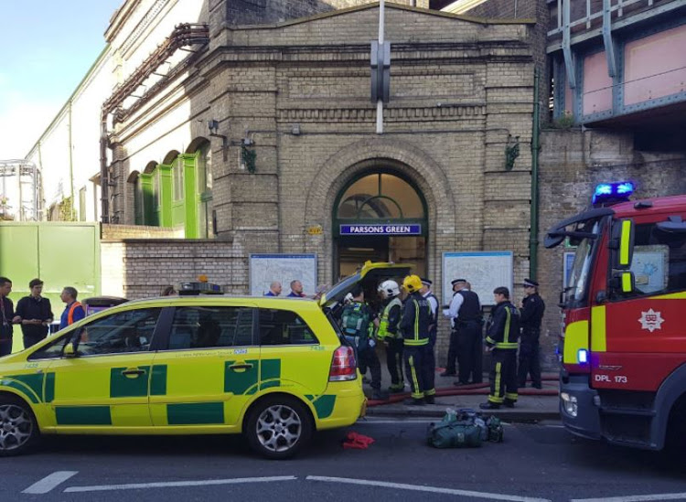 Emergency services attend the scene following a blast on an underground train at Parsons Green tube station in West London, Britain September 15, 2017, in this image taken from social media.
