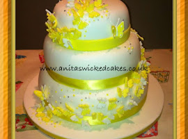 Lemon butterfly wedding cake