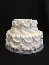 Photo: The Madison wedding cake design with black diamond wrap around bottom tier.