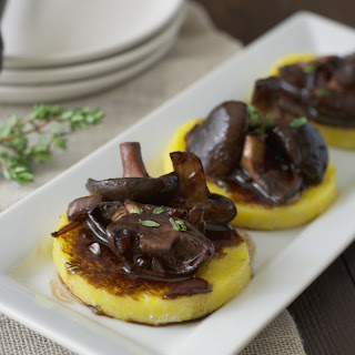 Shiitake Mushrooms with Balsamic Glaze Over Polenta #SundaySupper
